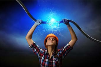 image of woman connecting broken power cable